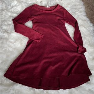 Simple winter-Red dress.